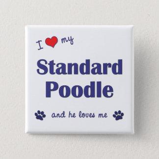 I Love My Standard Poodle (Male Dog) 15 Cm Square Badge