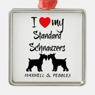 I Love My Standard Schnauzer Dogs Silver-Colored Square Decoration