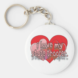I LOVE MY STATE TROOPER BASIC ROUND BUTTON KEY RING