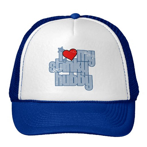 i love my stinky hubby (blue distressed) mesh hats