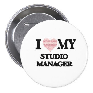 I love my Studio Manager (Heart Made from Words) 7.5 Cm Round Badge