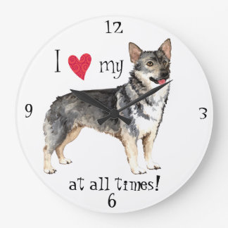 I Love my Swedish Vallhund Large Clock
