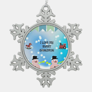 I Love My Sweet Grandson Snowflake Pewter Christmas Ornament