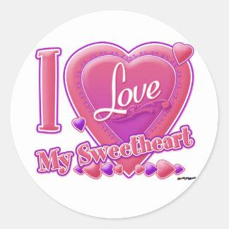 I Love My Sweetheart pink/purple - heart Round Sticker