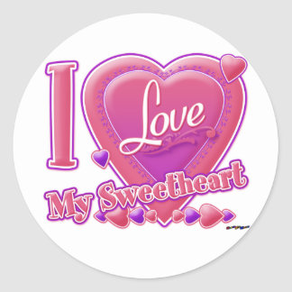 I Love My Sweetheart pink/purple - heart Round Stickers