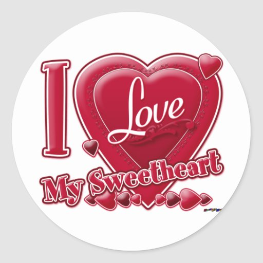I Love My Sweetheart red - heart Round Stickers