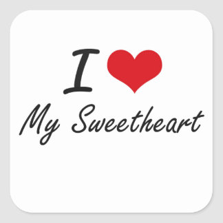 I love My Sweetheart Square Sticker