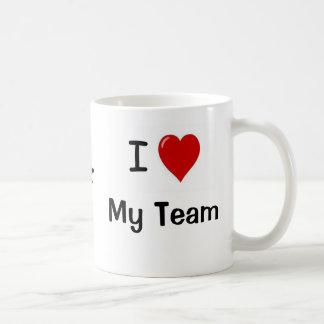 I Love My Team and My Team Heart Me! Basic White Mug