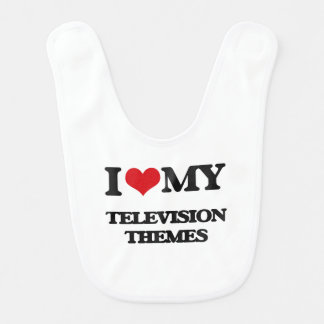 I Love My TELEVISION THEMES Baby Bibs