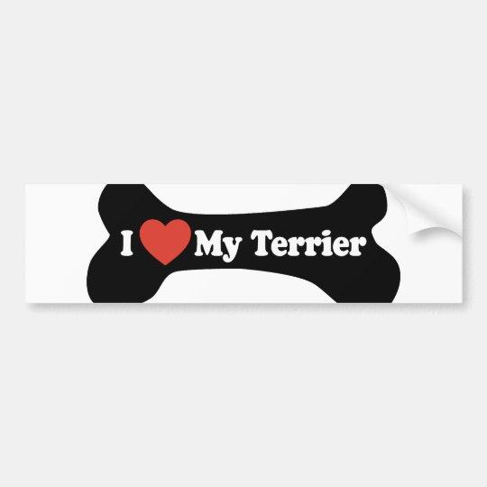 I Love My Terrier - Dog Bone Bumper