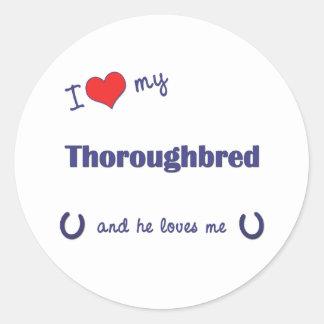 I Love My Thoroughbred (Male Horse) Round Sticker