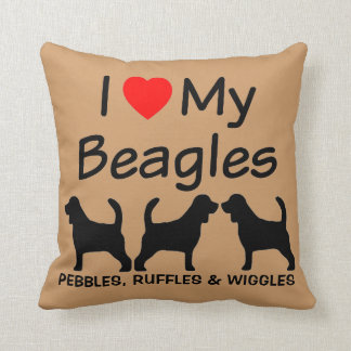 I Love My Three Beagle Dogs Cushion