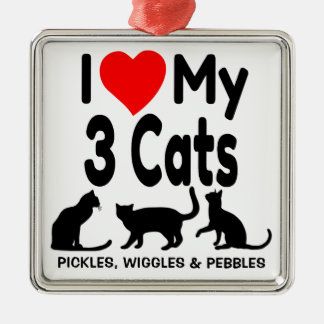 I Love My Three Cats Ornament