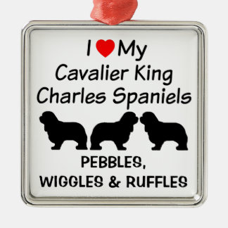 I Love My Three Cavalier King Charles Spaniel Dogs Silver-Colored Square Decoration