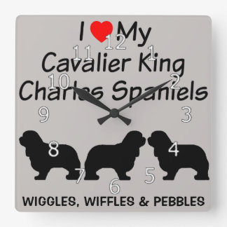 I Love My Three Cavalier King Charles Spaniel Dogs Square Wall Clock
