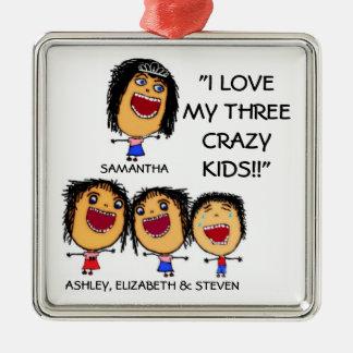 I Love My Three Crazy Kids Cartoon Christmas Ornam Christmas Ornament