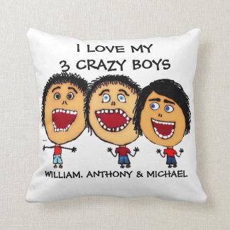 I Love My Three Crazy Sons Cartoon Throw Pillow