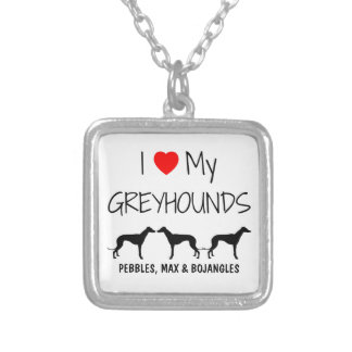 I Love My Three Greyhound Dogs Square Pendant Necklace