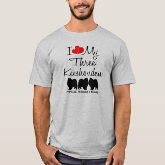 I Love My Three Keeshonden T-Shirt