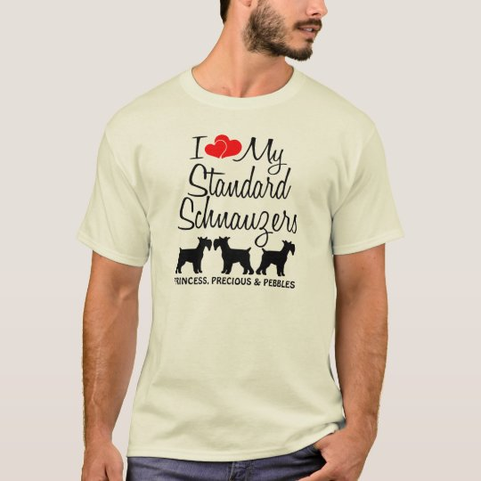 I Love My Three Standard Schnauzer Dogs T-Shirt
