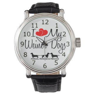 I Love My Three Weiner Dogs Watch