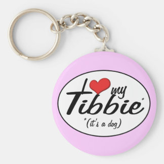 I Love My Tibbie (It's a Dog) Key Ring