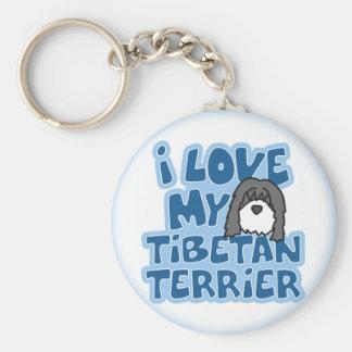 I Love My Tibetan Terrier Keychain