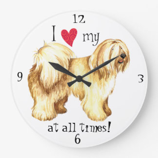 I Love my Tibetan Terrier Large Clock