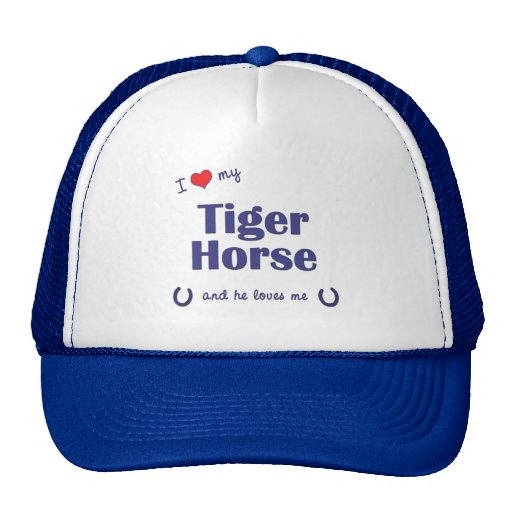 I Love My Tiger Horse (Male Horse) Mesh Hats