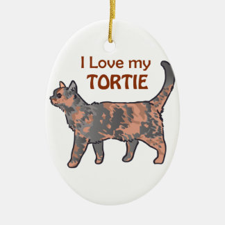 I Love My Tortie Ceramic Oval Decoration