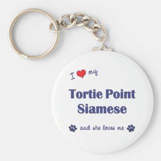 I Love My Tortie Point Siamese (Female Cat) Key Ring