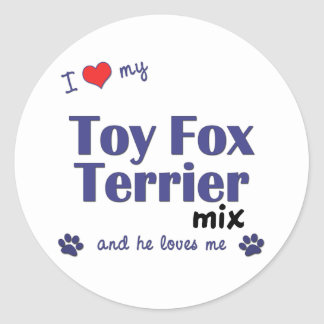 I Love My Toy Fox Terrier Mix Male Dog Round Stickers
