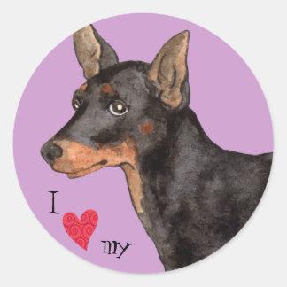 I Love my Toy Manchester Terrier Round Sticker