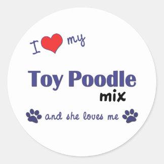 I Love My Toy Poodle Mix (Female Dog) Classic Round Sticker