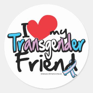 I Love My Transgender Friend Round Sticker