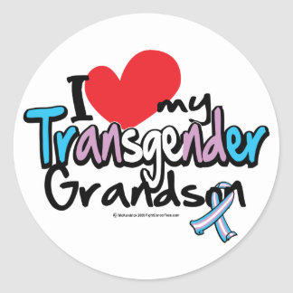 I Love My Transgender Grandson Classic Round Sticker