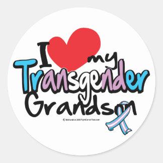 I Love My Transgender Grandson Round Sticker