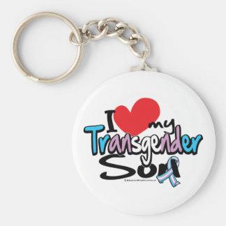 I Love My Transgender Son Basic Round Button Key Ring