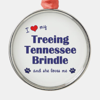 I Love My Treeing Tennessee Brindle (Female Dog) Christmas Ornament