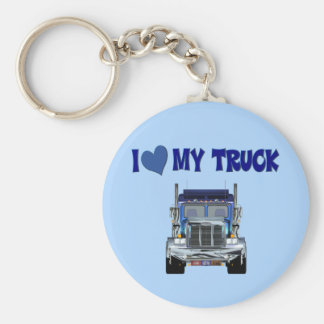 I Love My Truck Basic Round Button Key Ring
