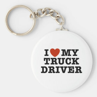 I Love My Truck Driver Basic Round Button Key Ring