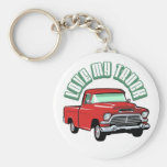 I love my truck - Old, classic red pickup Basic Round Button Key Ring