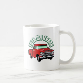 I love my truck - Old, classic red pickup Coffee Mug
