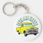 I love my truck - Old, classic yellow pickup Basic Round Button Key Ring