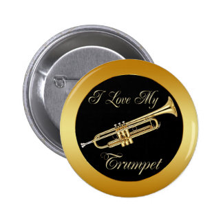 I LOVE MY TRUMPET 6 CM ROUND BADGE