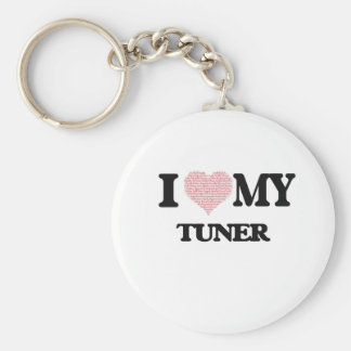 I love my Tuner (Heart Made from Words) Basic Round Button Key Ring