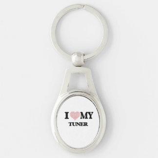 I love my Tuner (Heart Made from Words) Silver-Colored Oval Key Ring