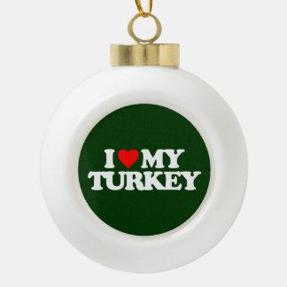 I LOVE MY TURKEY CERAMIC BALL CHRISTMAS ORNAMENT
