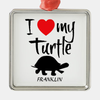 I Love My Turtle Christmas Ornament