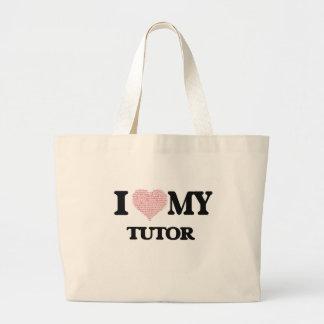 I love my Tutor (Heart Made from Words) Jumbo Tote Bag